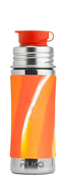 Purakiki Sportflasche aus Edelstahl mit Sportverschluss, orange swirl | plastikfrei