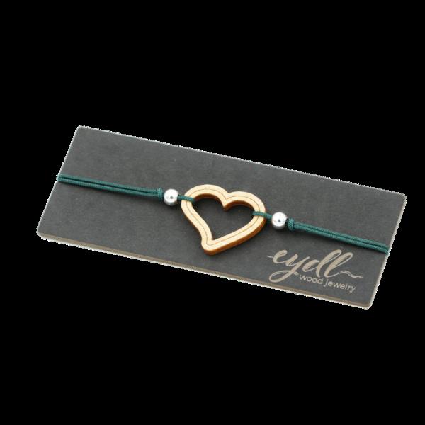 Eydl Armband Herz Ahorn, Smaragd | Natürlicher Holzschmuck bei Das bunte Chamäleon in Bamberg und online kaufen