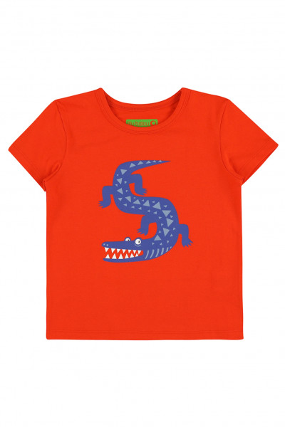 Lily Balou T-Shirt Louis Krokodil, Grenadine   Belgische Bio-Kinderbekleidung bei Das bunte Chamäleon in Bamberg und online kaufen