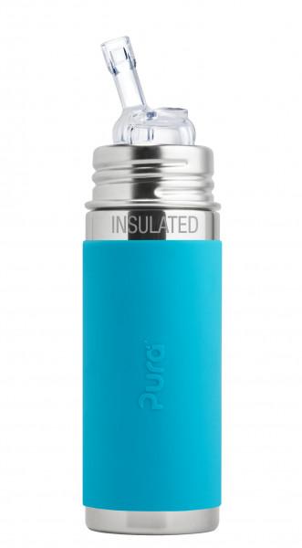 Pura kiki isolierte Edelstahl Strohhalmflasche 250 ml, aqua