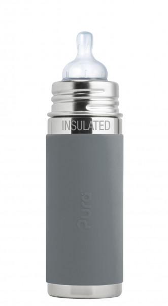 Purakiki Edelstahl Isolierflasche Edelstahlflasche 250 ml, grau | Edelstahlflaschen bei Das bunte Chamäleon