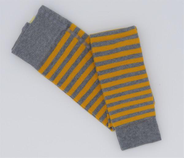 Grödo Kinder-Strickleggings geringelt Gelb/Grau | Kinder-Leggings aus Bio-Baumwolle bei Das bunte Chamäleon in Bamberg und online