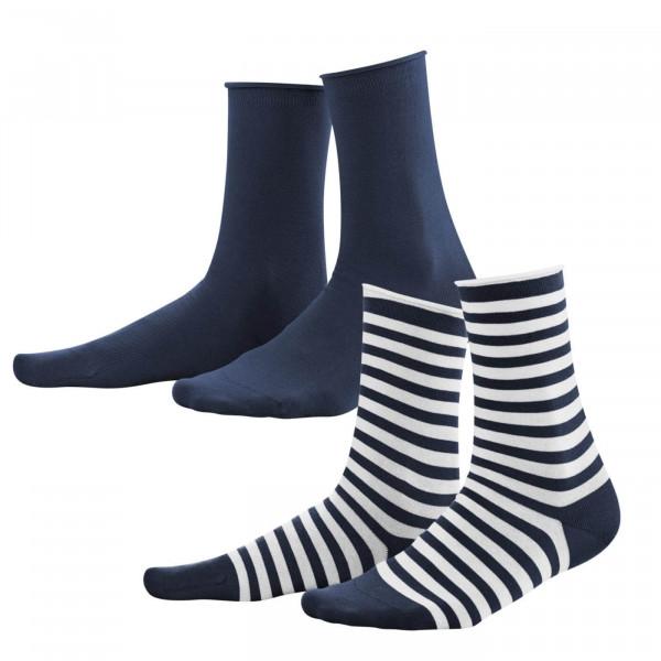 Living Crafts 2er Pack Damen-Socken, navy/weiß | Naturmode für Damen bei Das bunte Chamäleon in Bamberg und online kaufen