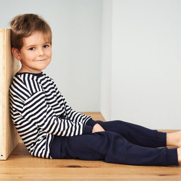 Living Crafts Bio Schlafanzug Ringel, Navy Weiß | Ökologische Kinderkleidung bei Das bunte Chamälein Bamberg kaufen