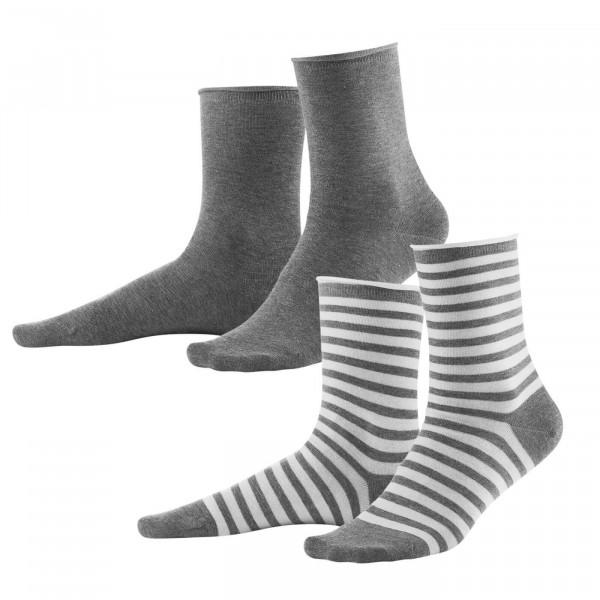Living Crafts 2er Pack Damen-Socken, hellgrau/weiß | Naturmode für Damen bei Das bunte Chamäleon in Bamberg und online kaufen