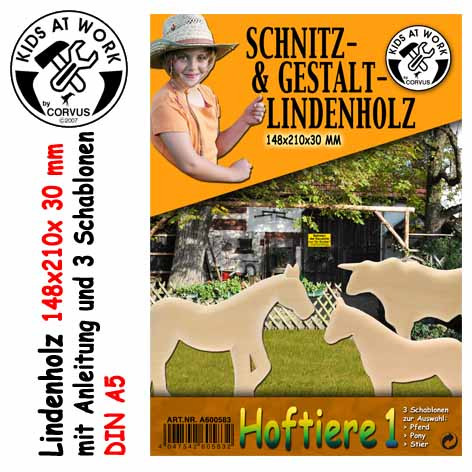 Corvus Schnitzholz Hoftiere Groß | Werkzeug für Kinder bei Das bunte Chamäleon in Bamberg und online