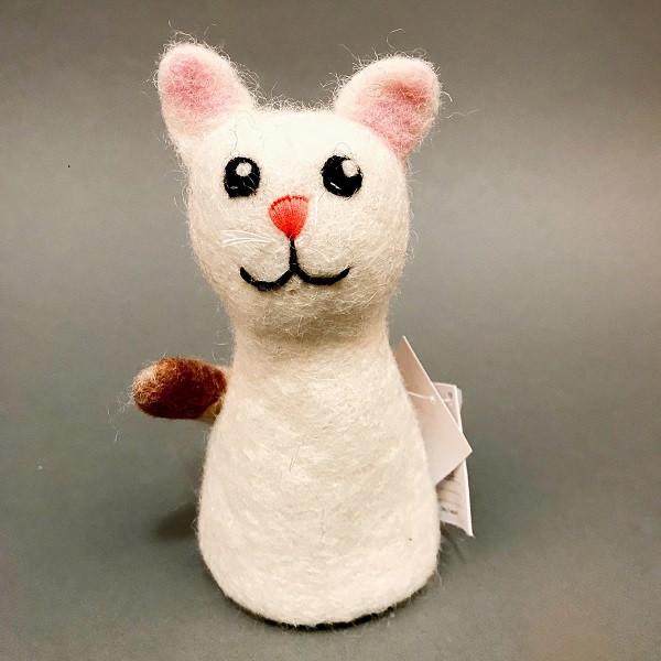 Katze, Wollfilz, weiß | Nachhaltige Kindersachen bei Das bunte Chamäleon in Bamberg und online