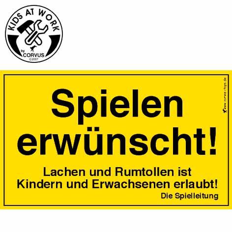 Corvus Schild Spielen erwünscht | Werkzeug für Kinder bei Das bunte Chamäleon in Bamberg und online