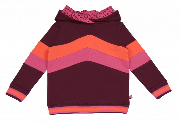 Enfant Terrible Hoodie Colorblocking Soft Pink Bordeaux | Bio-Kindermode bei Das bunte Chamäleon in Bamberg und online