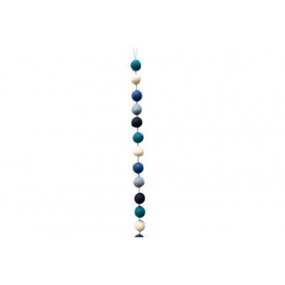 Bunte Filzkugelgirlande aus Wollfilz, Blau/Weiß | Schönes für dein Zuhause bei Das bunte Chamäleon in Bamberg und online