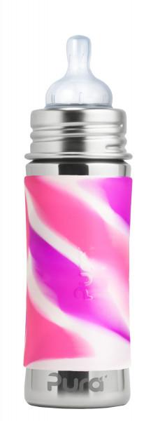 Pura kiki Edelstahl Trinkflasche mit Sauger, pink swirl   Plastikfreie Edelstahltrinkenflaschen von Pura bei Das bunte Chamäleon