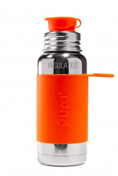 Pura ISO Sportflasche Edelstahl, 475 ml, orange   Pura Edelstahlflaschen online kaufen