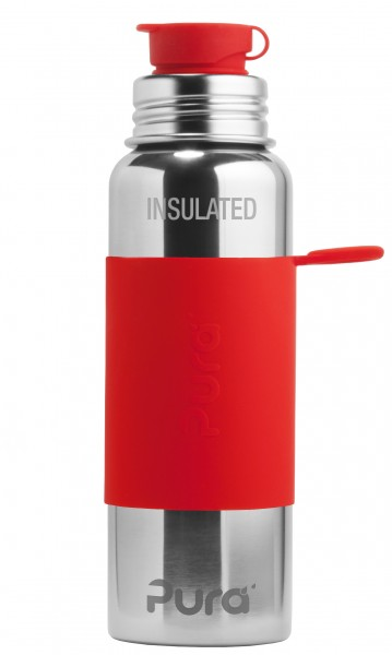 Pura isolierte Edelstahl Sportflasche 600 ml, rot