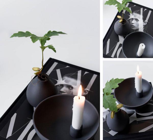 Storefactory Kerzenhalter Lidatorp groß, schwarz matt | Skandinavisches Design bei Das bunte