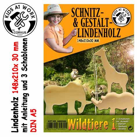 Corvus Schnitzholz Wildtiere | Werkzeug für Kinder bei Das bunte Chamäleon in Bamberg und online