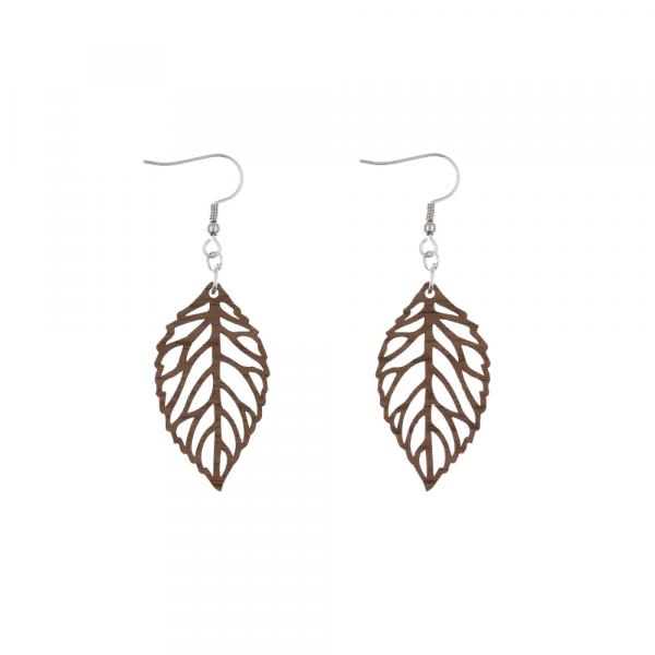 Eydl Ohrringe Blätter, Nussholz | Natürlicher Holzschmuck bei Das bunte Chamäleon in Bamberg und online kaufen