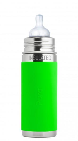 Purakiki Edelstahl Isolierflasche mit Sauger 250 ml, grün