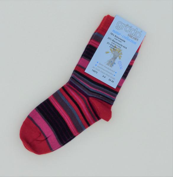 Grödo Kinder Stricksocken Wolle/Baumwolle rot | Socken aus Bio-Baumwolle und Wolle bei Das bunte Chamäleon in Bamberg und online
