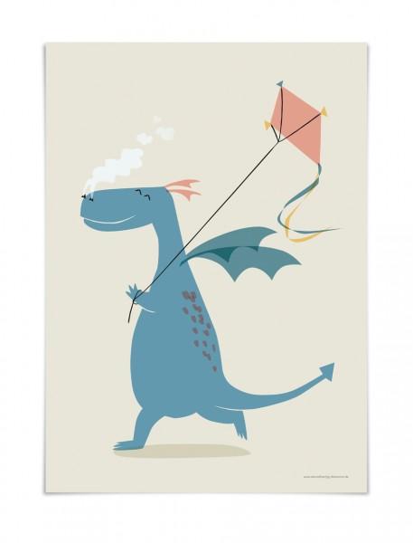 Kinderposter Drache   Poster von Vierundfünfzig Illustration