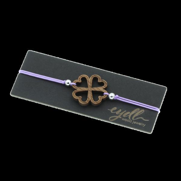 Eydl Armband Kleeblatt Nussholz, Lila | Natürlicher Holzschmuck bei Das bunte Chamäleon in Bamberg und online kaufen