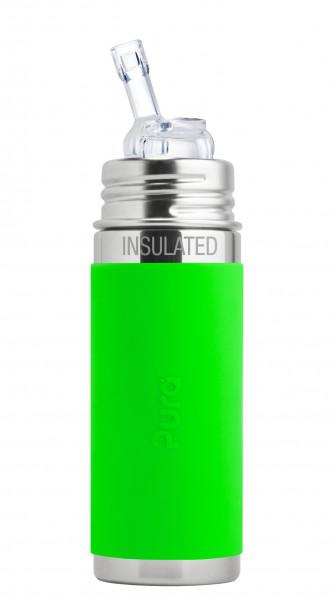 Pura kiki isolierte Edelstahl Strohhalmflasche 250 ml, grün