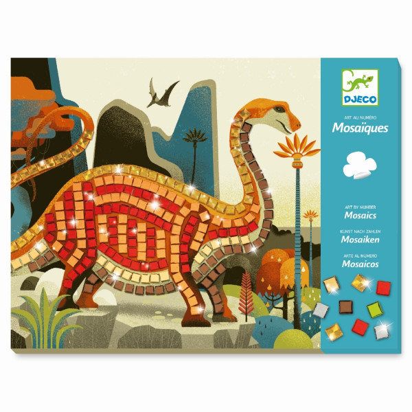 Djeco do it yourself Mosaike Metallische Dinosaurier | Basteln für Kinder bei Das bunte Chamäleon in Bamberg und online