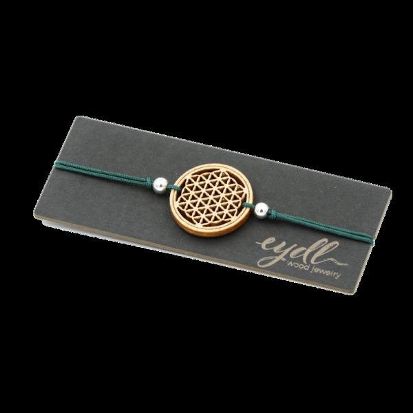 Eydl Armband Blume des Lebens Ahorn, smaragd | Natürlicher Holzschmuck bei Das bunte Chamäleon in Bamberg und online kaufen