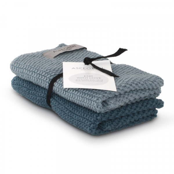 Aspegren Baumwoll-Spültücher solid blue | Plastikfreie Dinge für zu Hause bei Das bunte Chamäleon in Bamberg und online