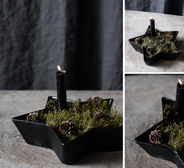 Storefactory Kerzenhalter Stjärna groß, schwarz | Skandinavisches Design bei Das bunte