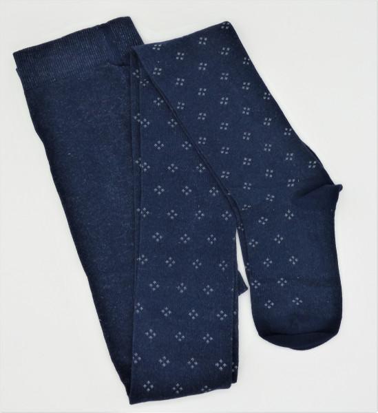 Grödo Bio Damen-Strumpfhose Rhombenmuster, blau