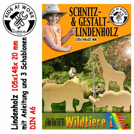 Corvus Schnitzholz Wildtiere   Werkzeug für Kinder bei Das bunte Chamäleon in Bamberg und online