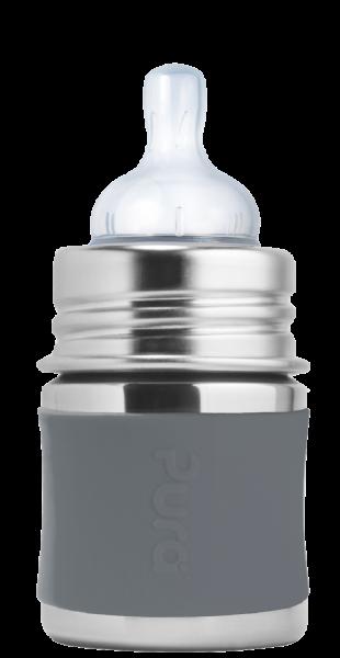 Purakiki Edelstahl Babyflasche Edelstahlflasche 125 ml grau | Edelstahltrinkflaschen bei Das bunte Chamäleon in Bamberg und online kaufen