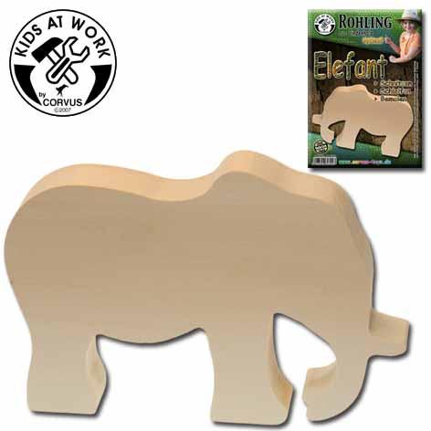 Corvus Schnitzholz-Rohling Elefant | Werkzeug für Kinder bei Das bunte Chamäleon in Bamberg und online
