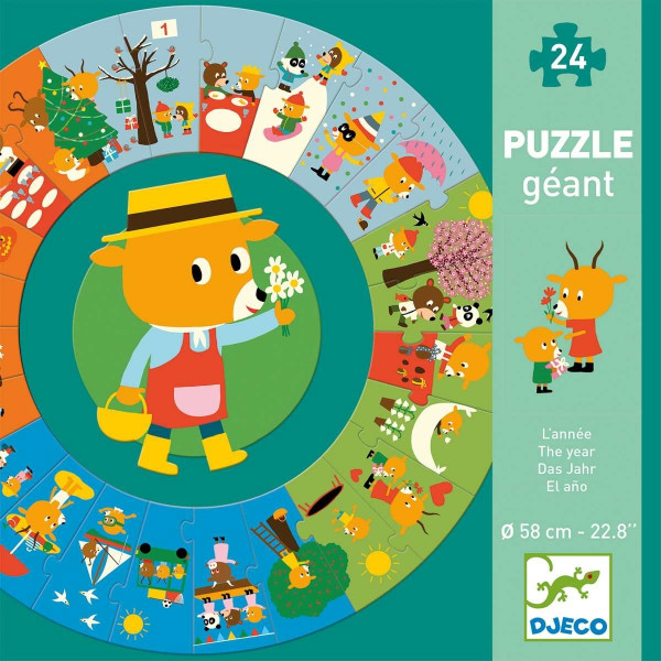 Djeco Großes Bodenpuzzle Das Jahr | Spielzeug für Kinder bei Das bunte Chamäleon in Bamberg und online