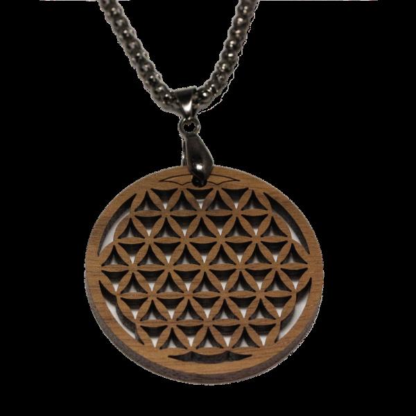 Eydl Halskette Blume des Lebens, Nuss | Natürlicher Holzschmuck bei Das bunte Chamäleon in Bamberg und online kaufen