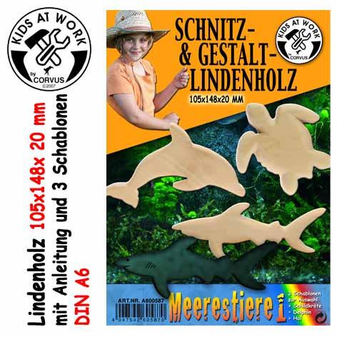 Corvus Schnitzholz Meerestiere | Werkzeug für Kinder bei Das bunte Chamäleon in Bamberg und online