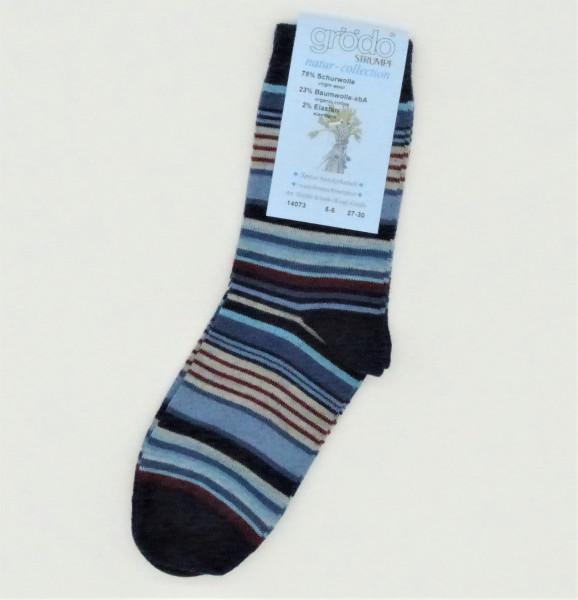 Grödo Kinder-Socken Wolle/Baumwolle, Blau | Wollsocken aus Bio-Wolle von Grödo bei Das bunte Chamäleon in Bamberg und online