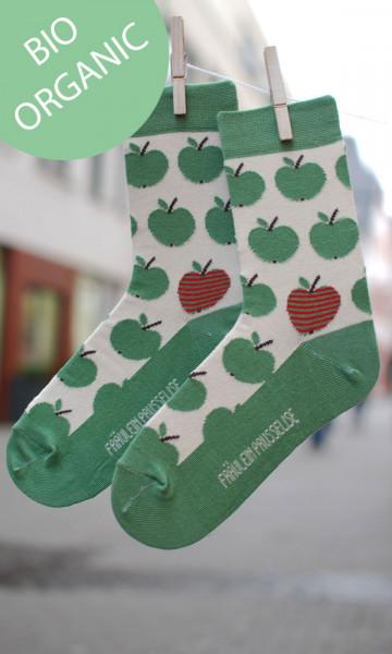 Frl. Prusselise Damensocken Äpfel grün | Bunte Kindersocken bei Das bunte Chamäleon in Bamberg und online