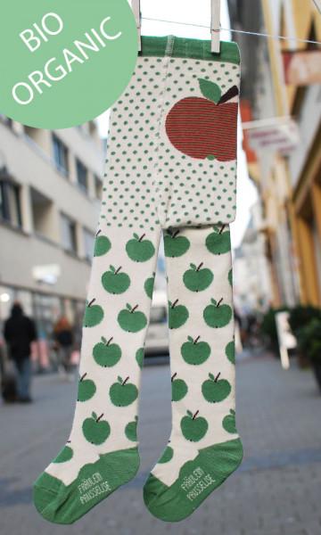 Frl. Prusselise Bio Strumpfhose Äpfelchen grün | Bunte Bio-Strumpfhosen bei Das bunte Chamäleon in Bamberg und online