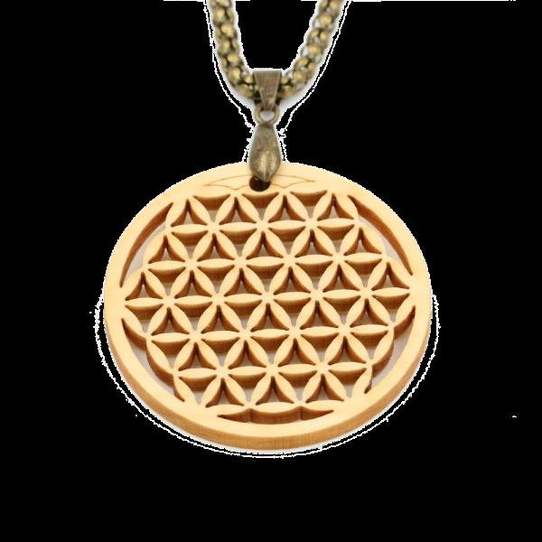 Eydl Halskette Blume des Lebens, Zirbe | Natürlicher Holzschmuck bei Das bunte Chamäleon in Bamberg und online kaufen