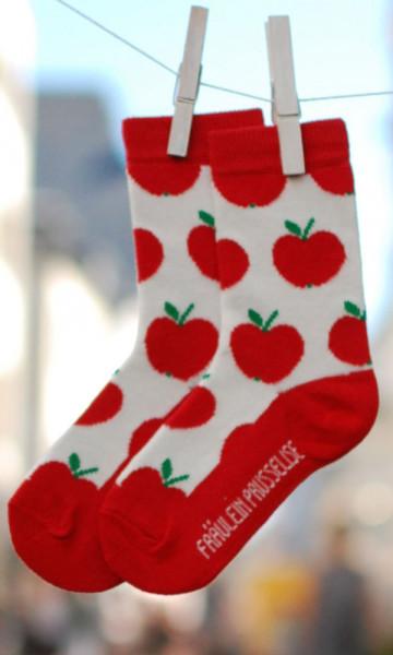 Frl. Prusselise Kindersocken Äpfel rot | Bunte Kindersocken bei Das bunte Chamäleon in Bamberg und online
