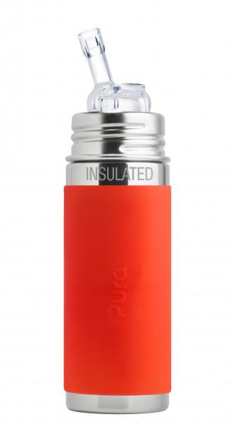 Pura kiki isolierte Edelstahl Strohhalmflasche 250 ml, orange