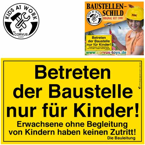 Corvus Baustellenschild   Werkzeug für Kinder bei Das bunte Chamäleon in Bamberg und online